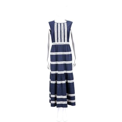 RED VALENTINO 度假風壓摺拼接深藍色無袖落地洋裝