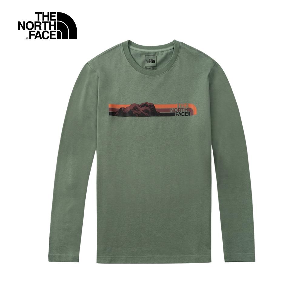 The North Face北面男款綠色胸前特色印花圓領長袖上衣 5AZGV1T