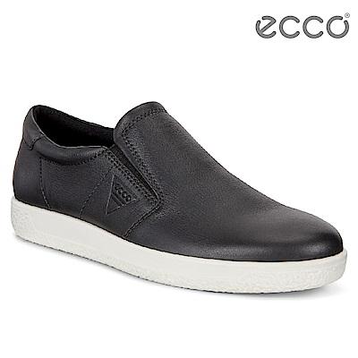 ECCO SOFT 1 MENS 極簡單色套入式牛皮休閒鞋 男-黑