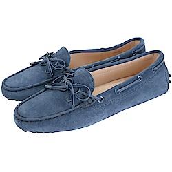 TOD'S Gommino 新版同色字母麂皮休閒豆豆鞋(女鞋/藍