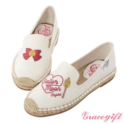 Grace gift-美少女戰士不對稱圖案麻編鞋 白