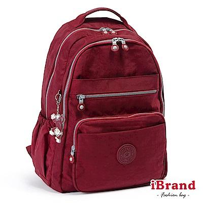 iBrand後背包 經典百搭超輕盈多口袋後背包-魅力紅