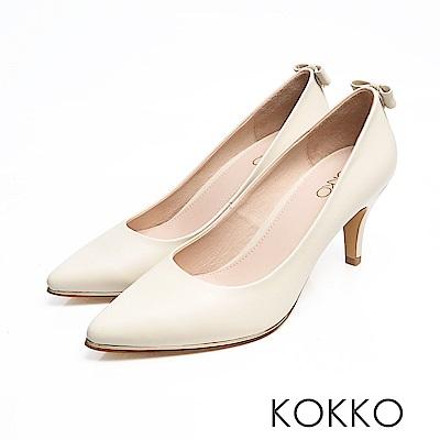 KOKKO - 幸福預兆蝴蝶結水鑽羊皮高跟鞋-象牙白