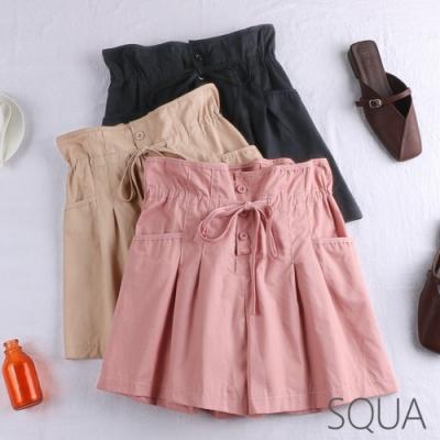 SQUA 純色三扣綁帶打摺短褲-三色-F