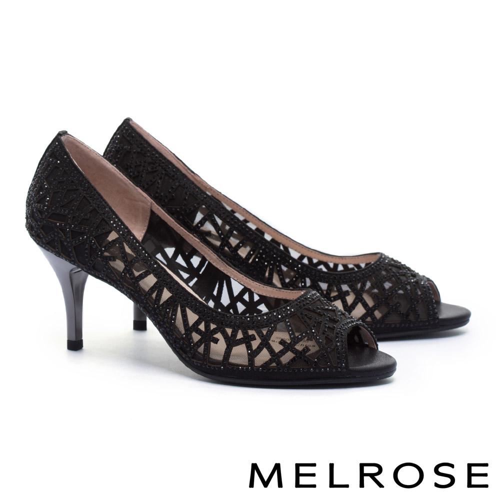 高跟鞋 MELROSE 迷人奢華晶鑽鏤空造型羊麂皮魚口高跟鞋-黑
