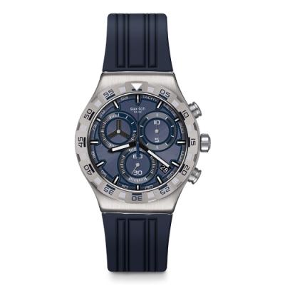 Swatch Irony 金屬Chrono系列手錶 TECKNO BLUE 電音夜光-43mm