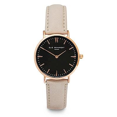 Elie Beaumont 英國時尚手錶 牛津系列黑錶盤x褐色皮革錶帶x玫瑰金錶框33mm