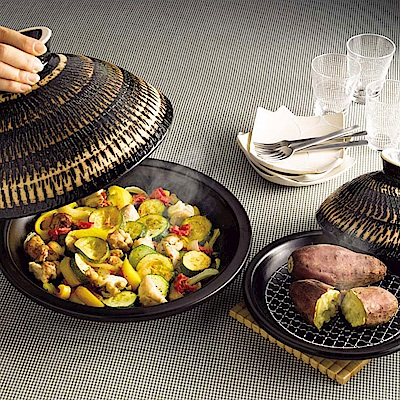 長谷園伊賀燒-蒸煮式摩洛哥陶土塔金鍋(大)31.5cm
