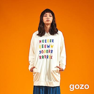gozo 彩色紐約印字長版連帽上衣(二色)