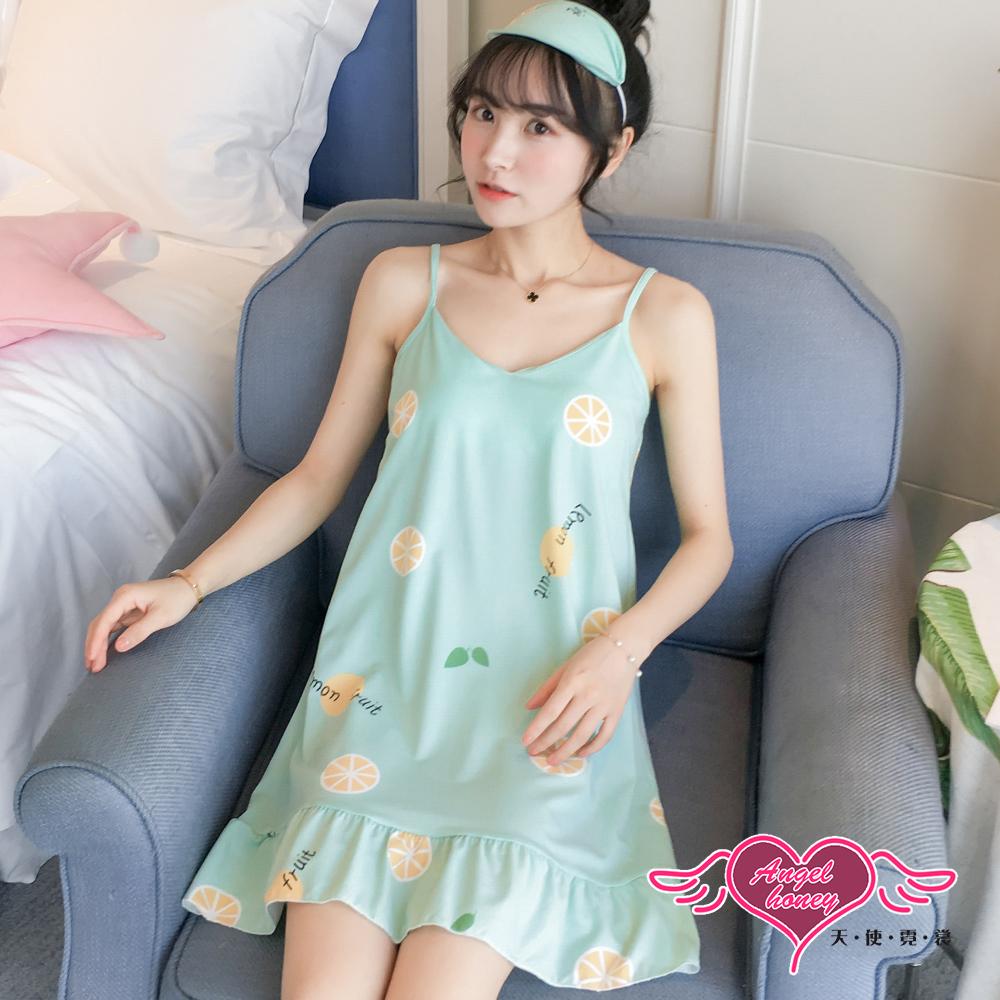 居家睡衣 酸甜檸檬 細肩帶短袖一件式連身裙休閒服(綠F) AngelHoney天使霓裳