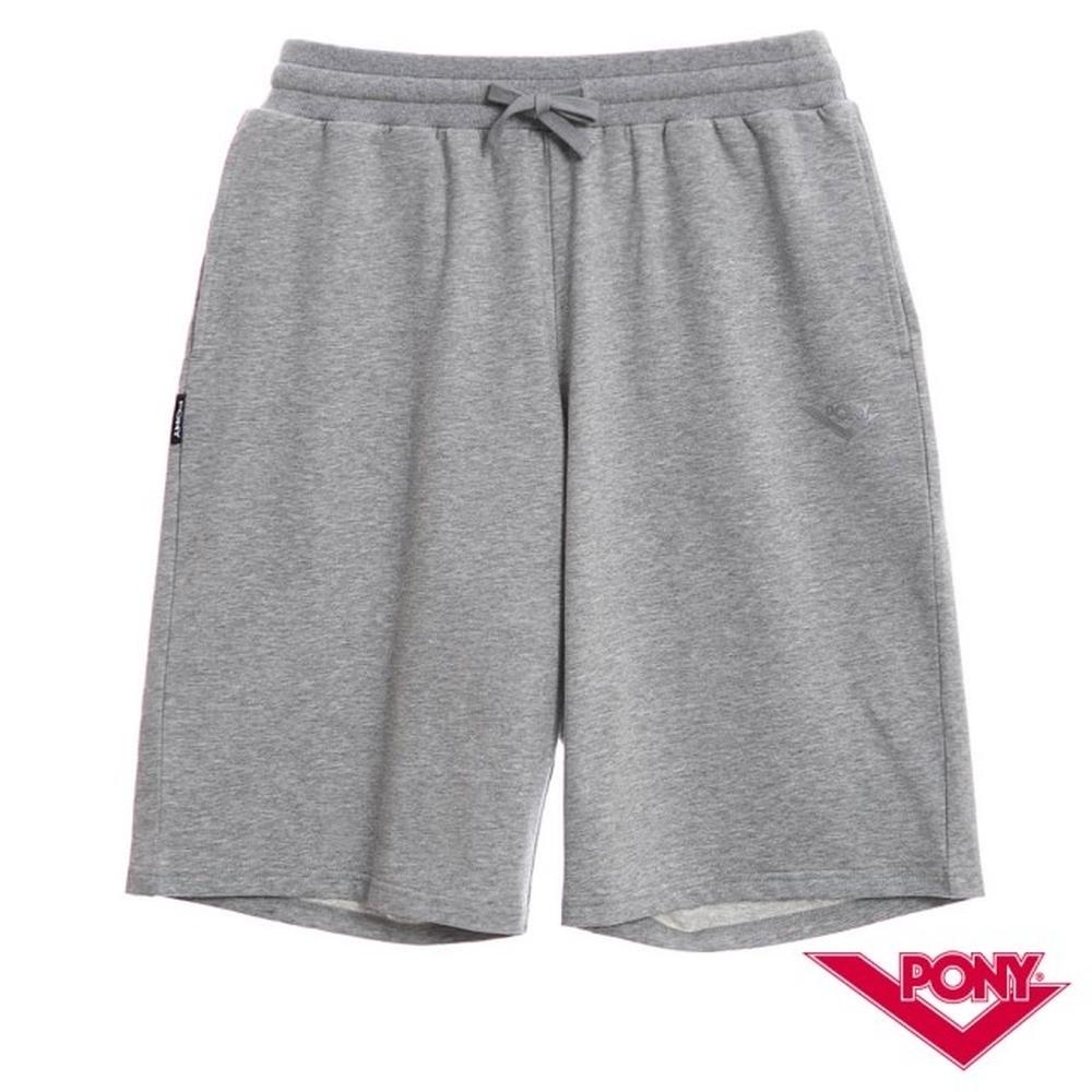 【PONY】純棉休閒短褲-男款 麻灰