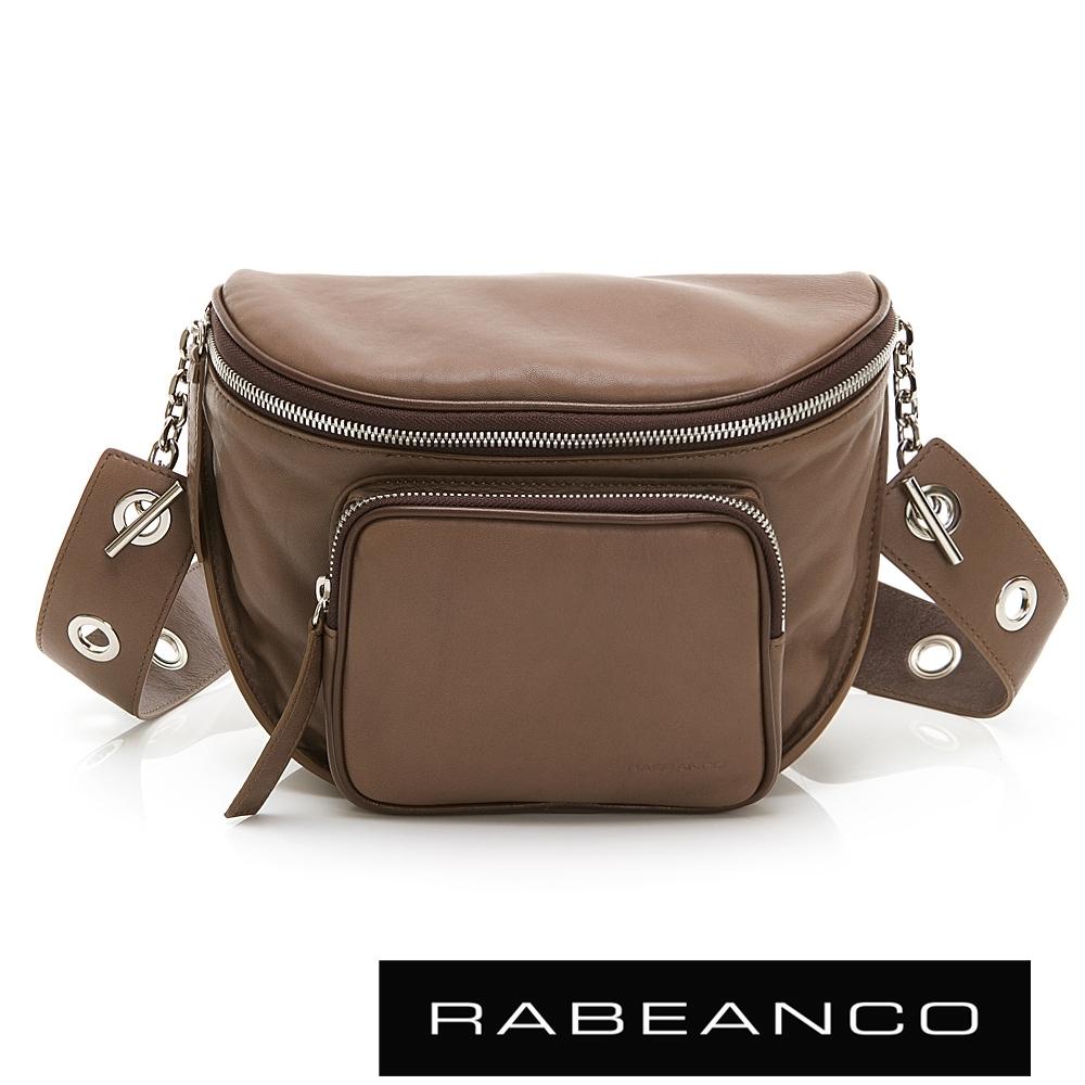 RABEANCO INA牛皮T型鏈條寬背帶斜背/腰包(大)咖