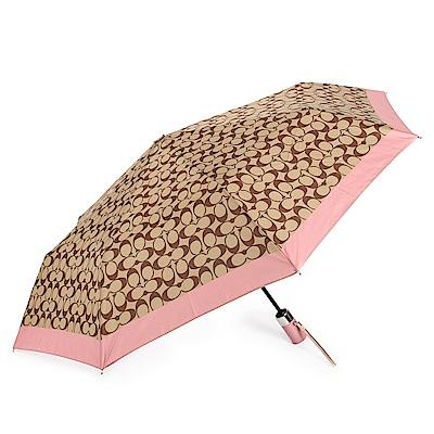 COACH 經典滿版LOGO全自動開闔晴雨傘-咖啡/粉紅色COACH
