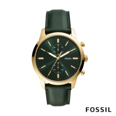 FOSSIL TOWNSMAN 城市雅痞真皮計時男錶-深綠色 44MM FS5599