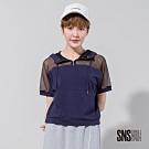 SNS 透視風格網布拼接連帽T恤(2色)