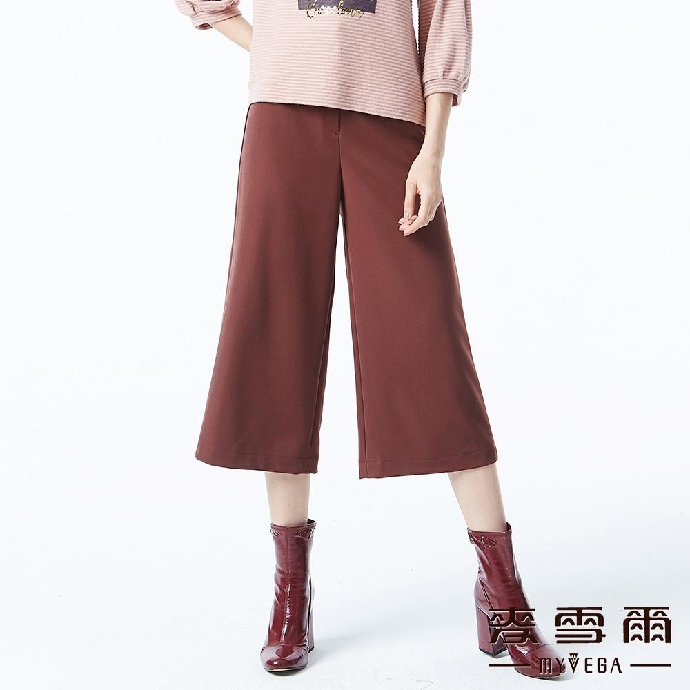 麥雪爾 純色造型織帶八分寬褲-紅咖