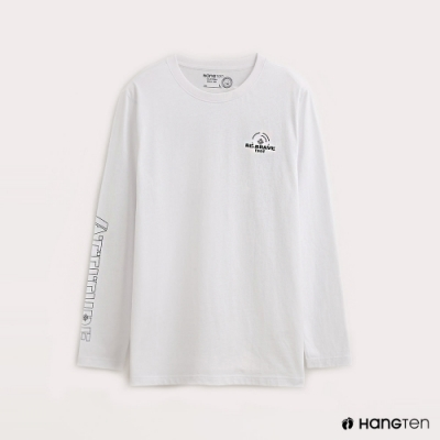 Hang Ten-男裝-ECO-有機棉率性文字長袖T恤-白色