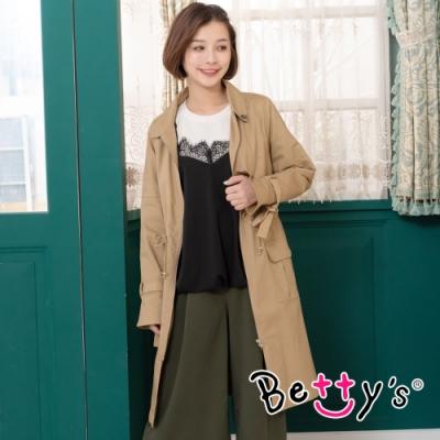 betty's貝蒂思 簡約質感束帶風衣外套(卡其)