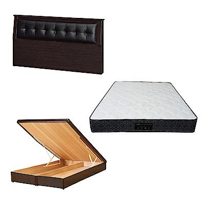 綠活居 亞凱5尺雙人床台三式組合(床頭片+後掀床底+防蹣抗菌獨立筒床墊)五色可選