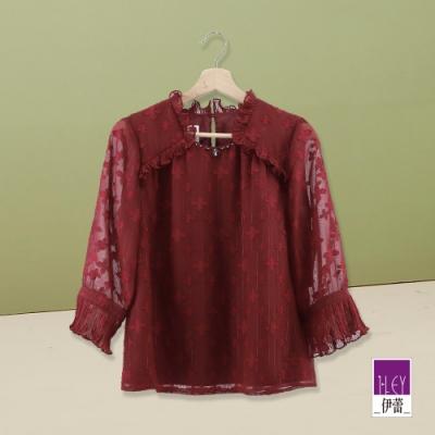 ILEY伊蕾 奢華質感織蔥燒花雪紡上衣(藍/紅)