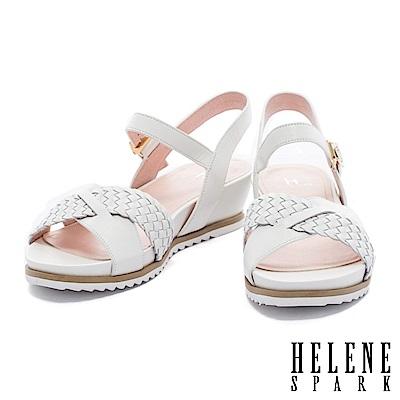 涼鞋 HELENE SPARK 度假編織條交叉字帶牛皮楔型高跟涼鞋-白
