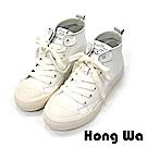 2.Maa - 時尚鍊條綁帶牛皮休閒樂福鞋-白