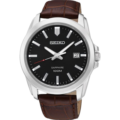 SEIKO 精工簡約時尚真皮手錶SGEH49P2-黑X咖啡/41mm