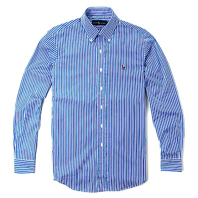 Polo Ralph Lauren 經典刺繡標誌長袖襯衫-藍白色