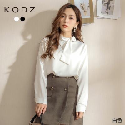 東京著衣-KODZ 優雅歐膩造型珍珠領結絲滑上衣(共二色)