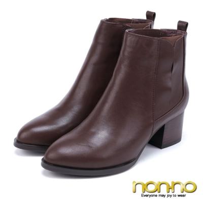 nonno 諾諾 歐風俐落 簡約質感木紋粗跟尖頭短靴-棕