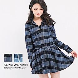 【KOMI】丹寧格紋襯衫領洋裝-二色
