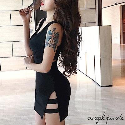 深V露腰鏤空側開叉連身裙純色顯瘦短洋裝(黑)-天使波堤