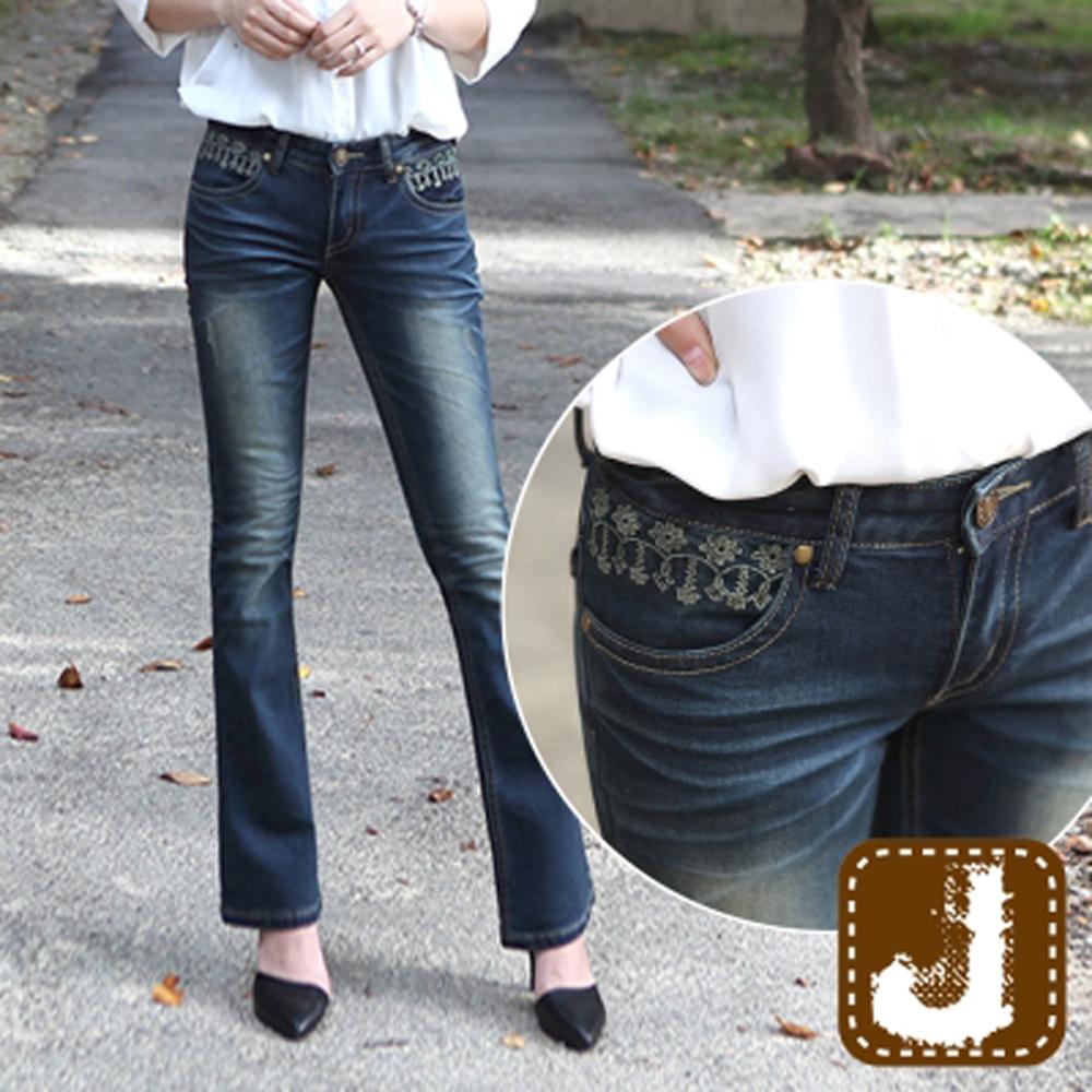 正韓 刷色水紋口袋刺繡喇叭褲-(水洗藍)100%Korea Jeans