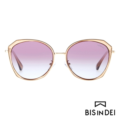 BIS IN DEI 側邊金屬多角框太陽眼鏡-棕