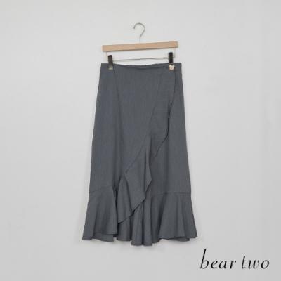beartwo-波浪裙擺寬褲-灰