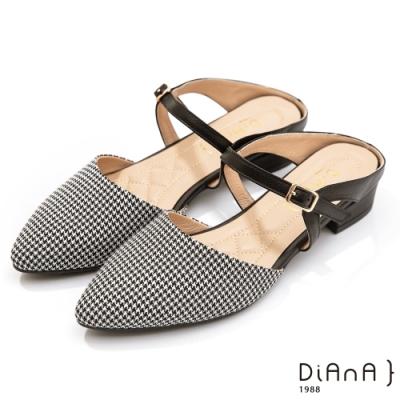 DIANA 3.5cm–復古材質千鳥格紋繫微尖頭穆勒跟鞋古董LADY–千鳥格