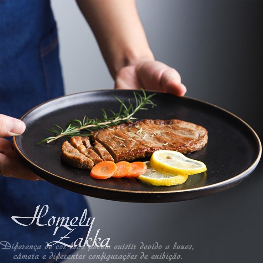 Homely Zakka 北歐輕奢風金邊黑色磨砂陶瓷餐具/牛排盤/西餐盤_大圓平盤25cm