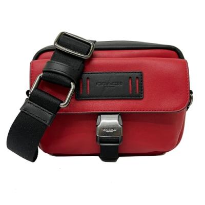 COACH 男款皮牌雙層斜背小相機包(紅/黑)
