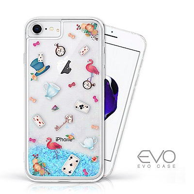EVO CASE iPhone 6 6s 7 8藍色閃粉亮片流沙手機殼愛麗絲