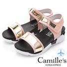 Camille's 韓國空運-一字魔鬼氈漆皮平底運動涼鞋-粉色