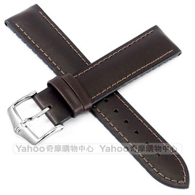 海奕施 HIRSCH James M 橡膠芯小牛皮錶帶-深棕