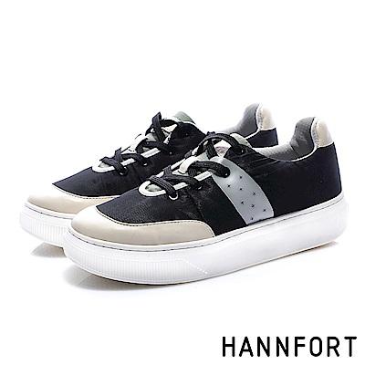 HANNFORT CAMPUS PLATFORM  尼龍蓬鬆厚底休閒鞋-女-黑