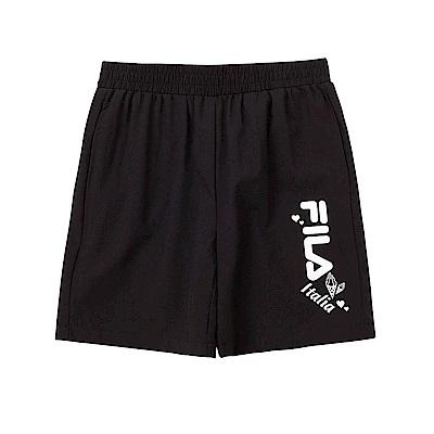 FILA KIDS 童平織4分褲-黑色 5SHT-4917-BK