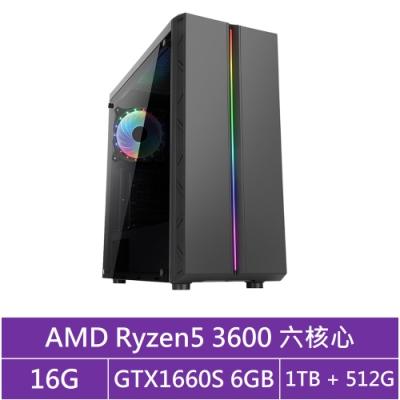 技嘉B450平台[冰刃劍神]R5六核GTX1660S獨顯電玩機