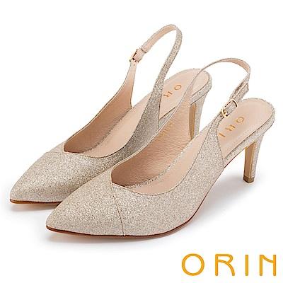 ORIN 時尚名媛 繫帶鏤空後拉帶尖頭跟鞋-裸色