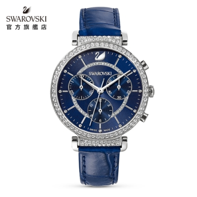 施華洛世奇 PASSAGE CHRONO 俐落湛藍三眼真皮手錶