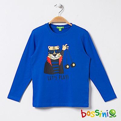 bossini男童-印花長袖T恤06藍紫