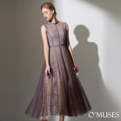 OMUSES 重工雙層蕾絲美背兩件式洋裝長禮服