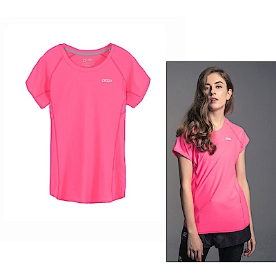 Gfun 女款吸濕排汗涼感T恤-螢光粉(G7URSL1-pink)