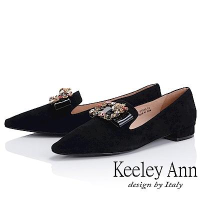 Keeley Ann 閃爍動人~拼接方形寶石飾釦尖頭樂福鞋(黑色-Ann)